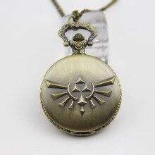 Модные игры Legend of Zelda античная бронза кварцевые карманные часы ожерелье для мужчин Wo мужские часы цепь стимпанк подарок