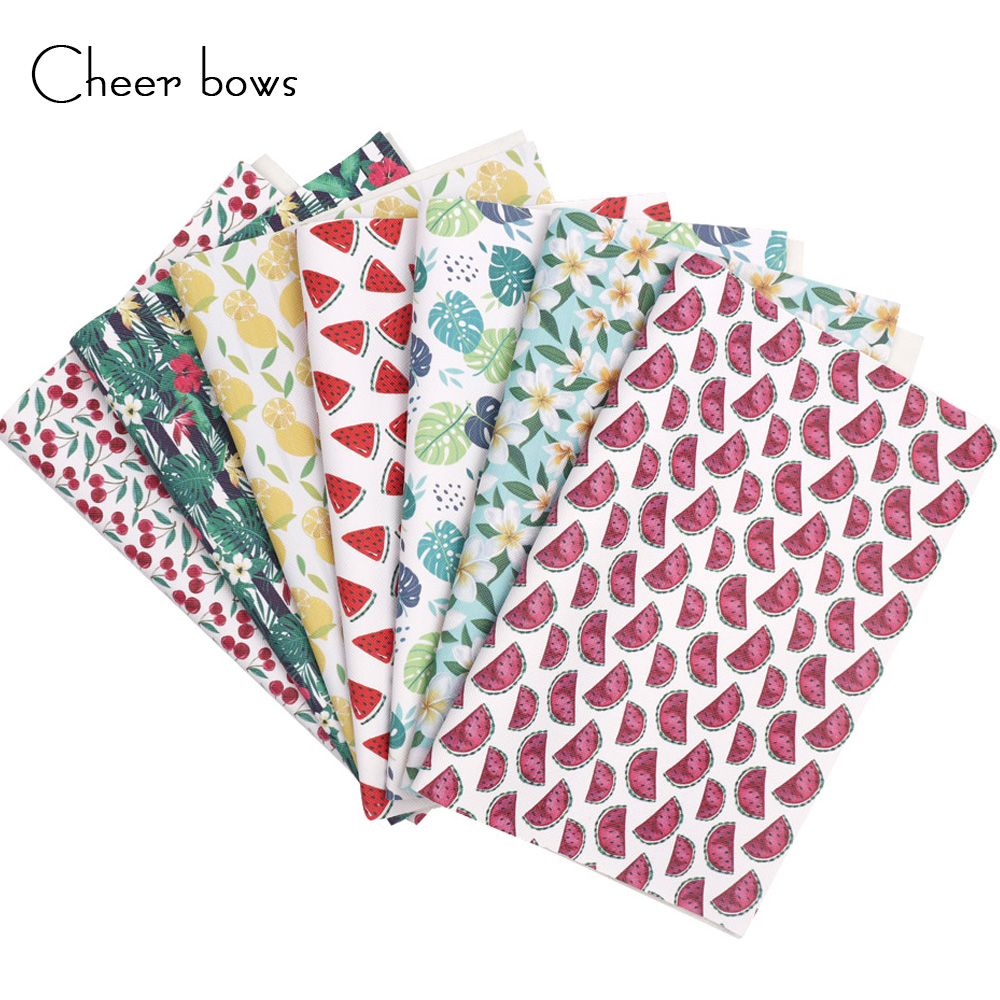 Cheer bows 22 30cm Synthetic Leather Artificial Faux Leather Fabric Sheet Cherry Watermelon Fruit Printed For DIY Bow Materials in Synthetic Leather from Home Garden