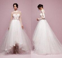 Elegant Asymmetrical De Novia Vintage Front And Rear Transparent Long Sleeve Applique Wedding Dress NM 453