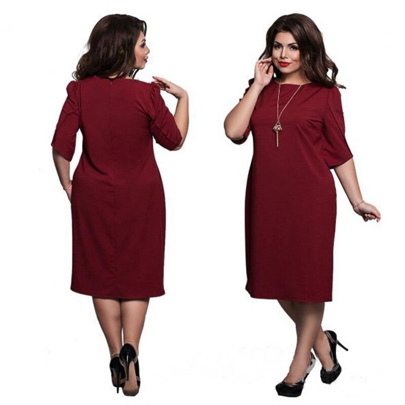 492f557d677 2018 New Plus Size L-6XL Fat MM Women Office Uniforms Ladies Banquet A-Line  Casual 4 Colours Solid Party Dresses JTZC0022