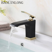 купить BAOLINLONG Black Baking Finish Brass Basin Deck Mount Bathroom Faucets Vanity Vessel Sinks Mixer Tap Faucet дешево