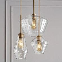 LukLoy Post Modern Glass Pendant Light Stainless Steel Diamond Shape Kitchen Hanging Lamp Loft Hanglamp Living Room Pendant Lamp