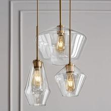 LukLoy פוסט מודרני זכוכית תליון אור נירוסטה יהלומי צורת מטבח תליית מנורת לופט Hanglamp סלון תליון מנורה