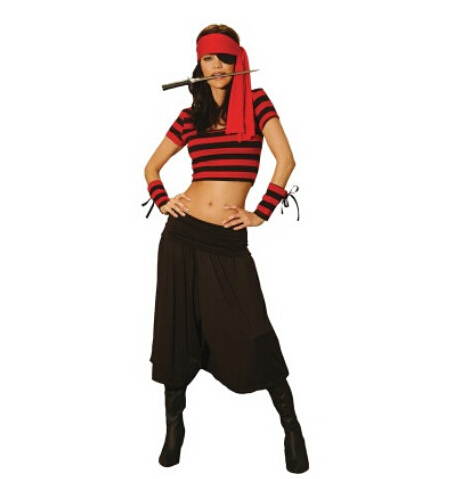 Cosplay party pirates of the Caribbean clothes top+pant+headwear red women sexy uniform adult carnival halloween costume