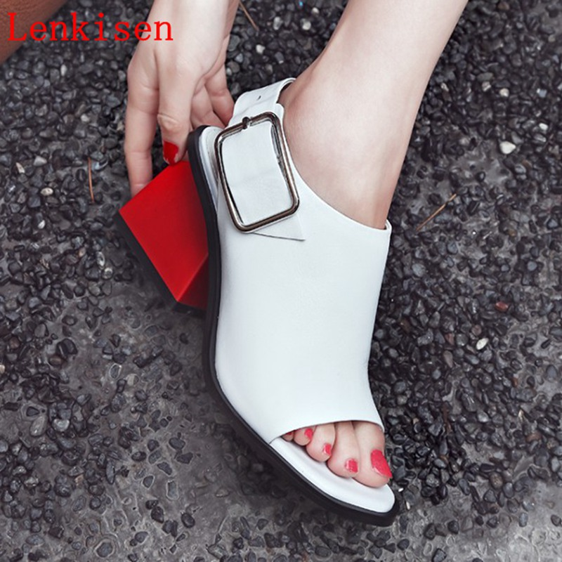 Lenkisen new buckle strap slingback simple classic strange style women sandals high fashion peep toe high