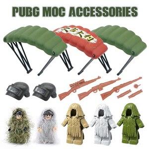 Image 1 - Arme militaire PUBG accessoires pistolet blocs de construction casque Parachute Ghillie costume SWAT soldat brique jouet Compatible armée Legoed