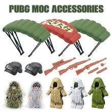 Askeri silah PUBG aksesuarları tabanca yapı taşları kask paraşüt Ghillie takım SWAT asker tuğla oyuncak uyumlu Legoed ordu