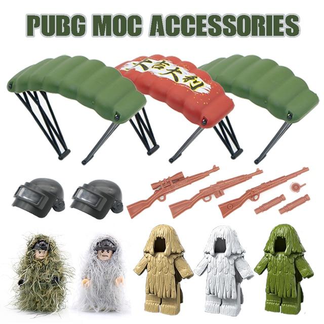 سلاح عسكري PUBG اكسسوارات بندقية اللبنات خوذة المظلة Ghillie دعوى SWAT الجندي لعبة الطوب متوافق Legoed الجيش