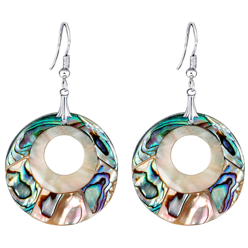 New 1 Pair Jewelry Gifts Women Girls Earrings Gift New Shell Style Round Beads Dangle Earrings