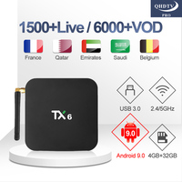 TX6 IP TV Box with 1 Year QHDTV Pro IPTV Subscription Arabic French Android 9.0 TV 4G 32G Box Belgium Netherlands QHDTV Pro IPTV