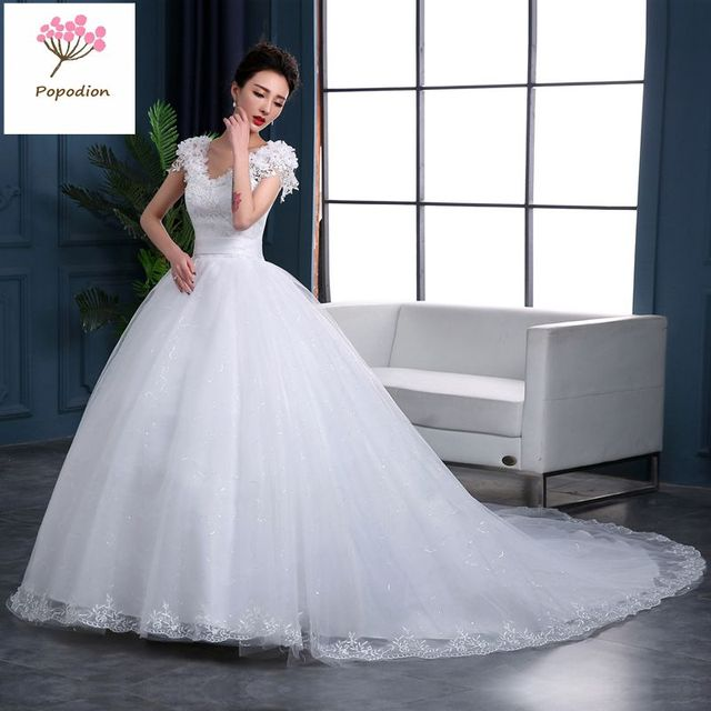 85e3e1859b US $95.68 48% OFF|Aliexpress.com : Buy Popodion wedding dress lace plus  size wedding dresses vestido de noiva WED90476 from Reliable Wedding  Dresses ...