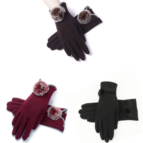 Hirigin Women Winter Touch Screen Warm Black Red Colors Wrist Outdoor Driving Gloves Mittens One Size