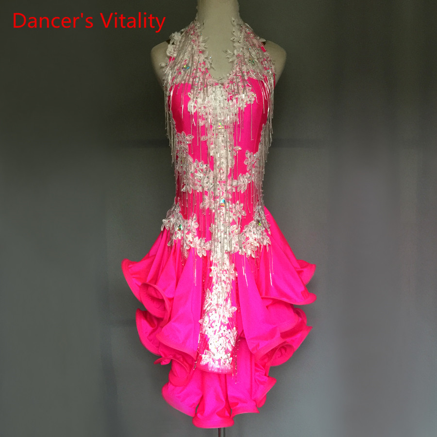 Professional Latin Dance Dress Senior Embroidery Women Dancing Performance Dresses Adult Kids Latin Dancing Competition Clothes