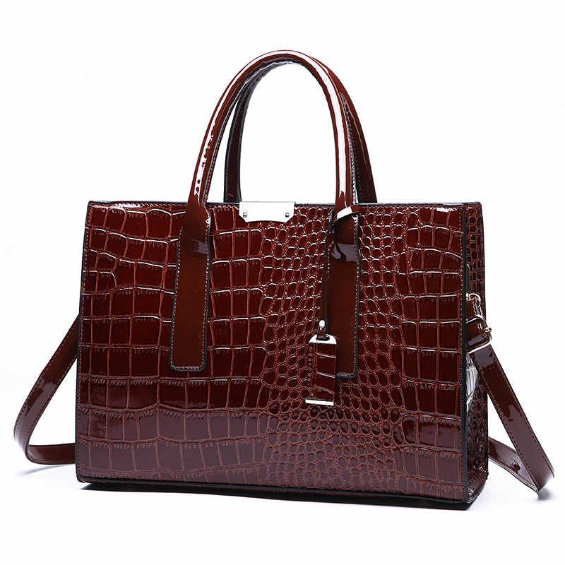 Kualitas Tinggi Buaya Pola Wanita Tangan Tas Besar Fashion Baru Kualitas Tinggi Kasual Liar Bahu Messenger Tas