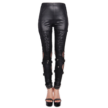 Gothic Steampunk Black Dark Skinny Trousers Leggings Women Sleek Wet Look Polyester Leg Stretchy Pants with Skull and Mesh