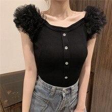 Short Sleeve Patchwork Ruffles Mesh Sweet Knitted T-shirt Girls Slash Neck Slim Stretchy Tshirts Tops For Female