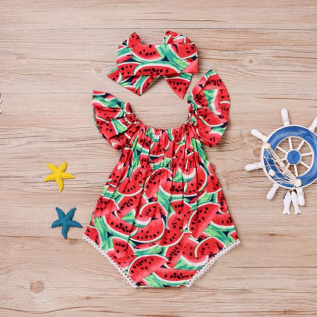 Watermelon Print Short Sleeve Baby Bodysuit