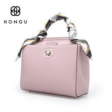 Hongu Light Luxury Genuine Leather Lady Shoulder Bag Scarves Shell Bag Pure Simple Women Tote handbag famous designer louis