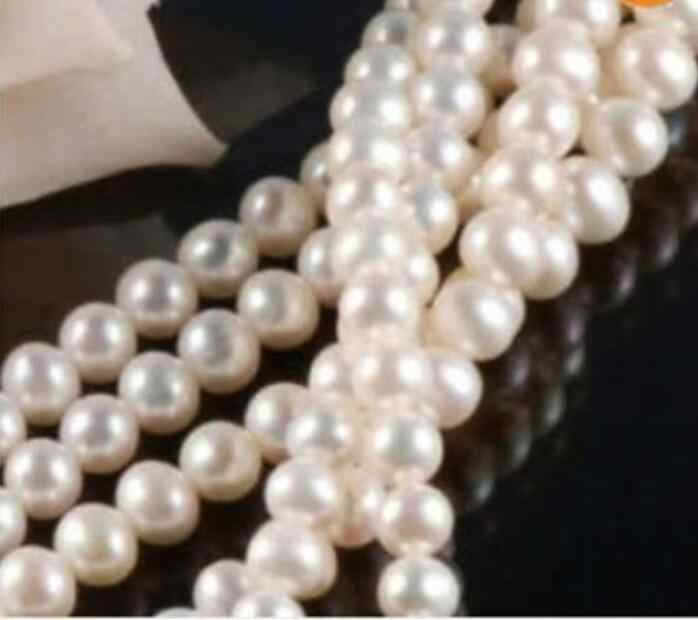 "Jewelry Pearl Necklace  6-7MM Natural White Akoya Cultured Pearl Loose Beads 14.5""  Free Shipping"