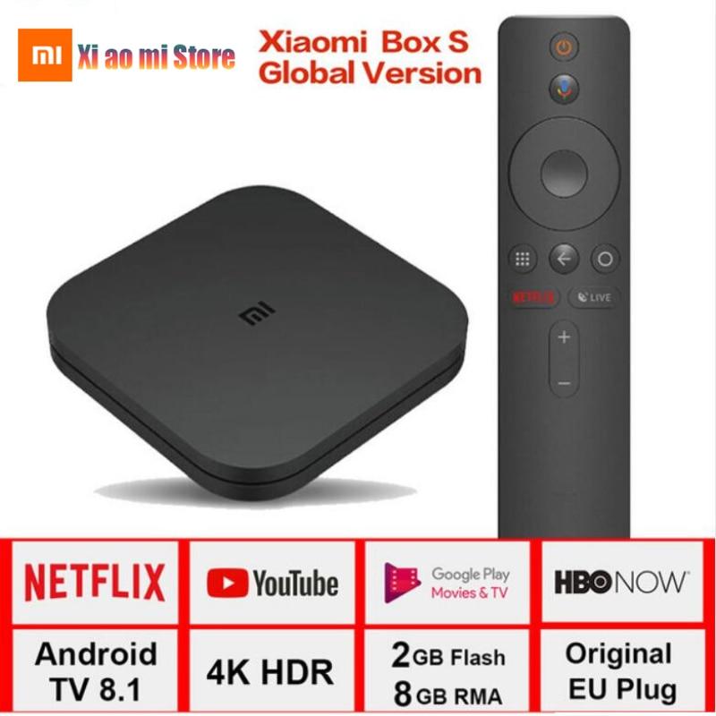 Global Xiaomi Mi Box S 4K TV Box Cortex-A53 Quad Core 64 bit Mali-450 1000Mbp Android Mi Box 2.4G/5.8G WiFi Google Cast Mi Box S