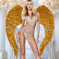 Luxury Gold cosplay wing fashion feather wings stage large props pure handmade Fashion angel wings props model catwalk show tool