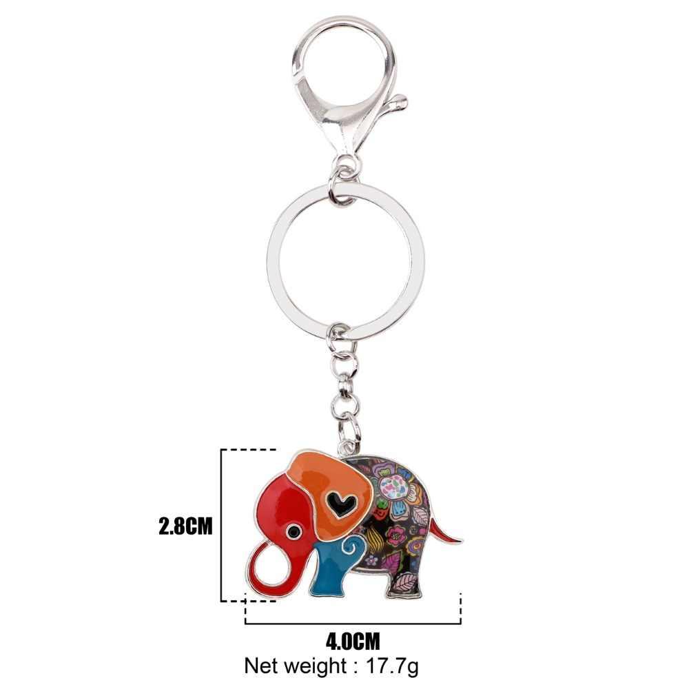 16ddfea941d Bonsny Enamel Alloy Cartoon Jungle Elephant Key Chain Key Ring Keychain  Gift For Ladies Bag Charm Car Pendant Women News Jewelry