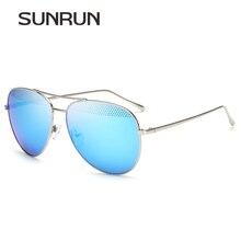 SUNRUN Hombres gafas de Sol De Gran Tamaño de Metal marco Piloto de Malla Mujeres Gafas de Sol gafas de sol T7021