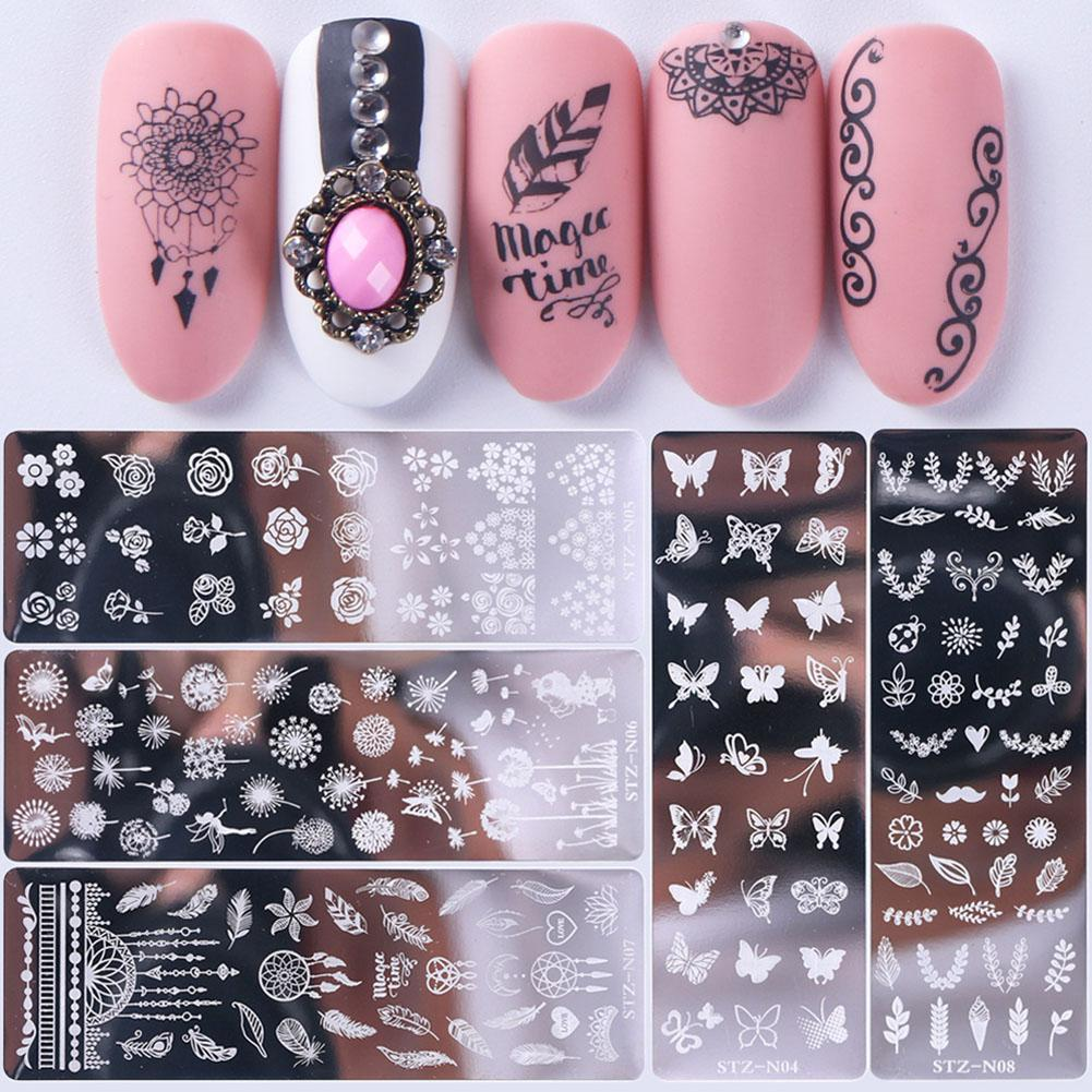 BellyLady Nail Art Stamping Plates Dream Catcher Lace Flower Patterns Nail Polish Transfer Stencils Manicure Image Tools