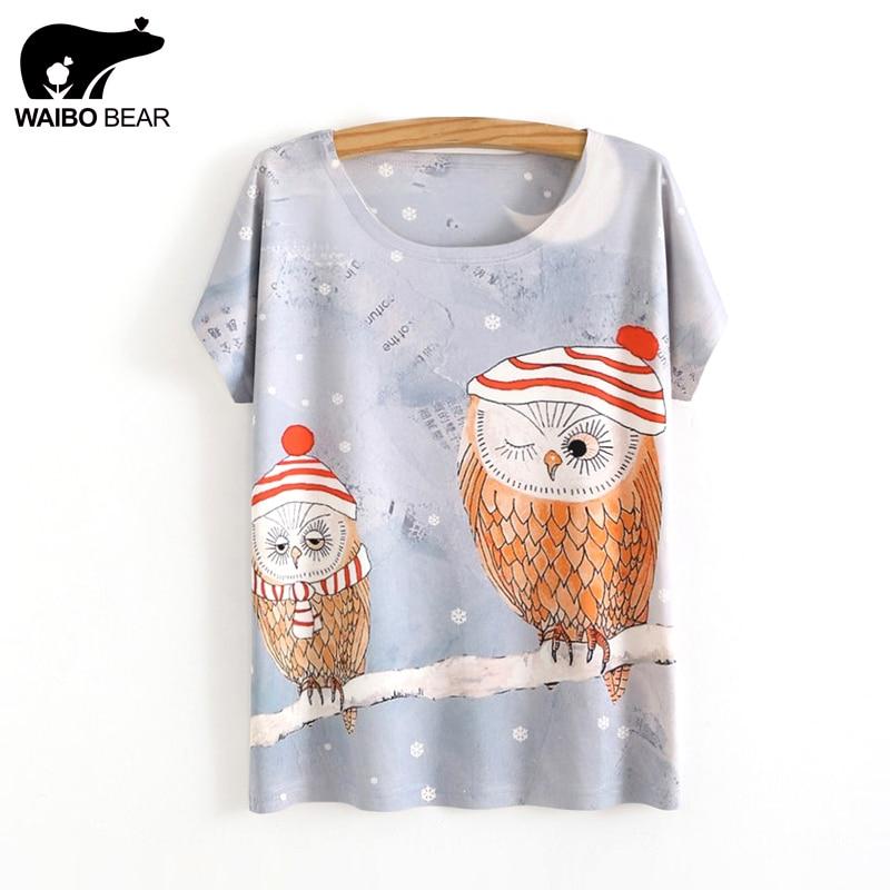 Women 2017 Kawaii T-Shirts Cartoon Owl Print Slim Basic Shirt Short Sleeve Round Neck Funny Tumblr Tee Tops WAIBO BEAR
