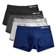 4pc/lot Boxershorts Men Boxers Man Underwear Panties Short Boxer de los hombres Cueca Plus Size Cotton  u13