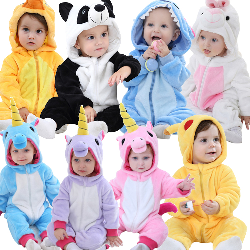 Baby   Rompers   for Boys Girls Cartoon Flannel Pajamas Kigurumi Rabbit Unicorn Animal Newborn   Rompers   Stitch Toddler Baby's Sets