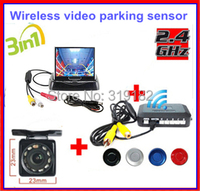 Stock /Wireless Video Parking Radar 4 Sensors Kit 3.5Car Rear View Monitor + LED Rear View HD Car Camera Parking Assistance