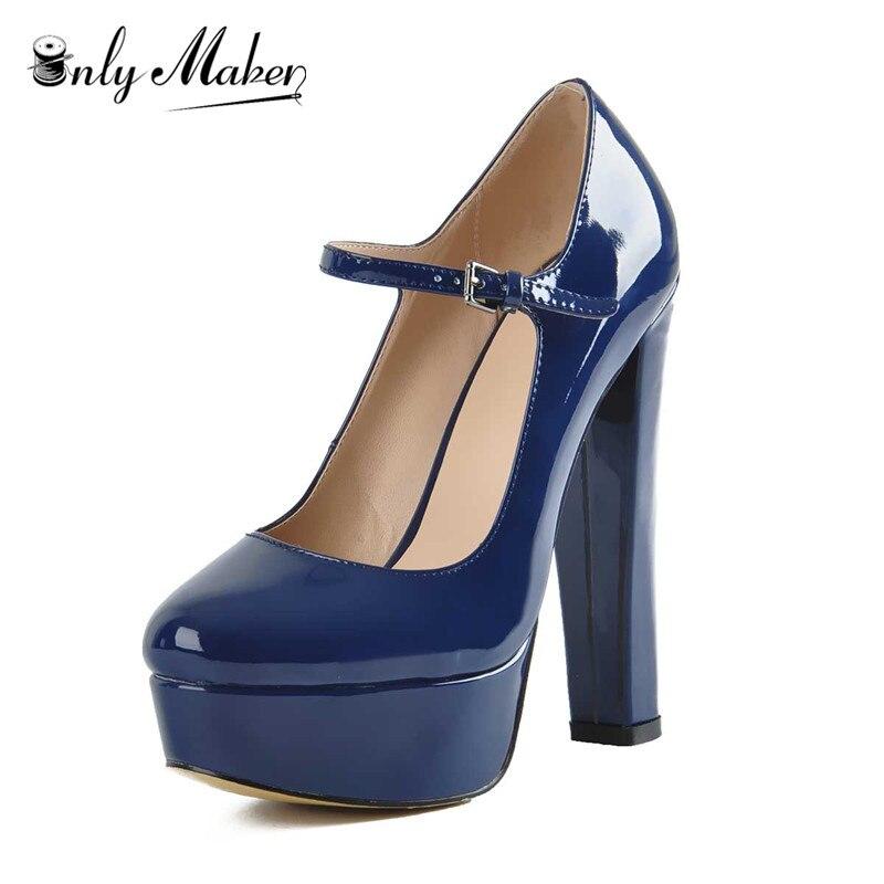 Women Mary Jane Platform Pumps Ankle Strap Stiletto 15 16cm Round Heel High Heels Dress Buckle