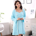 2016 Spring Autumn Cotton Women Dress Robes Lace Matured Mujer Pijama Robe Sets Sexy Women Ladies Nightgown Sleepwear Plus 3XL