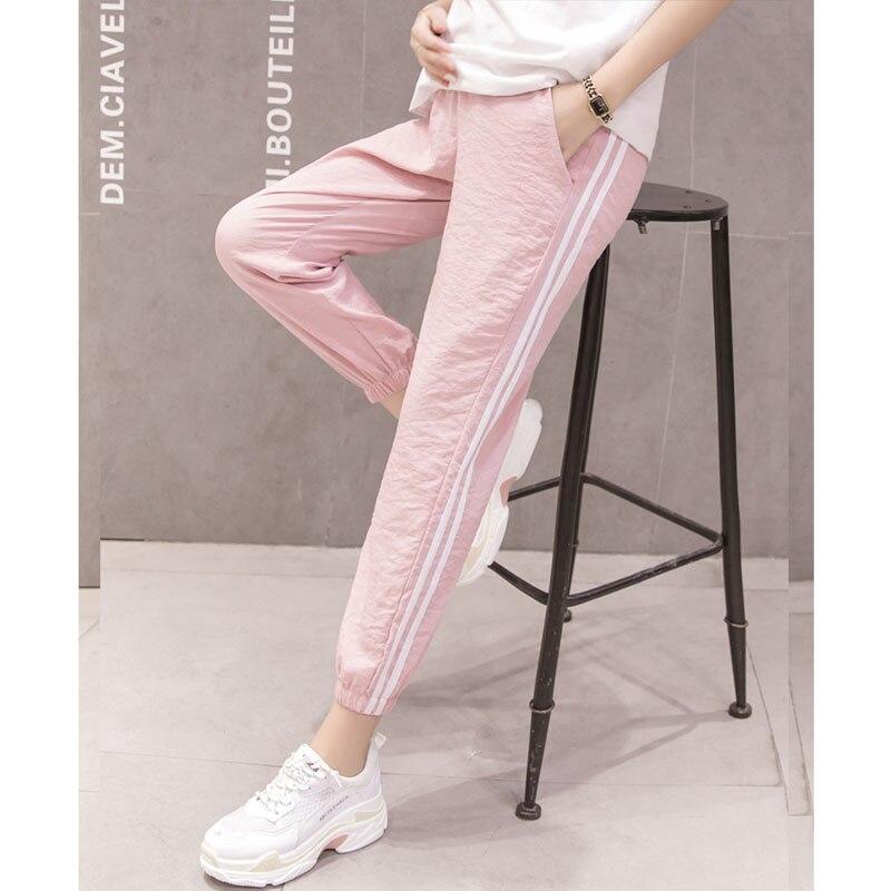 Side Stripe Haren Capris Maternity Pants For Pregnant Women Clothes Casual Pregnancy Pants Nursing Maternity Trousers Pants