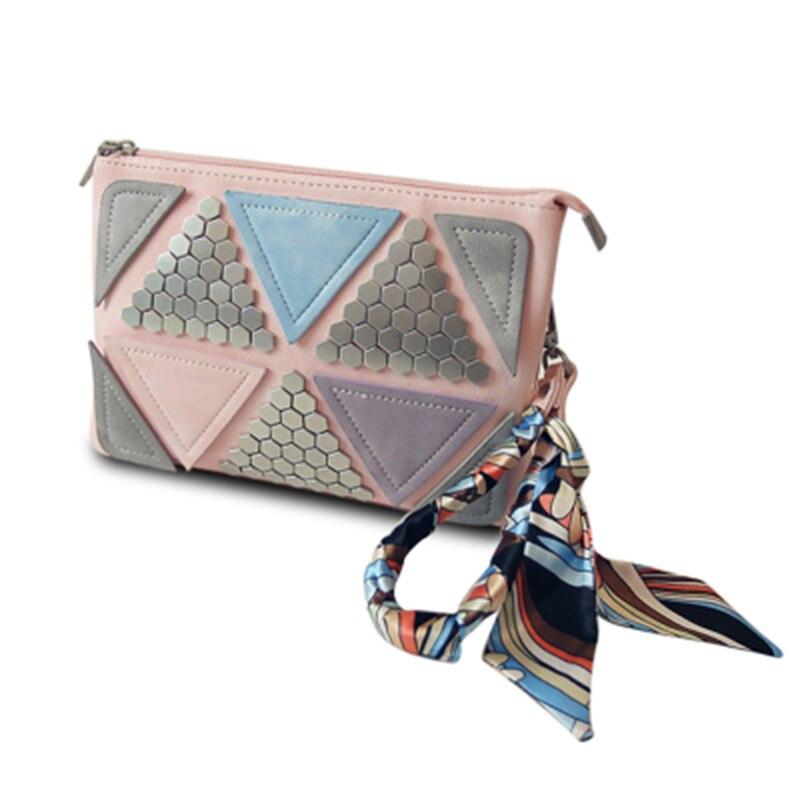 2017 rivet envelope bag spring women s patchwork handbag silk scarf shoulder bag messenger bag small