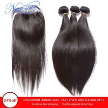 Brazilian Virgin Straight Hair 3 Bundles Human Hair Weaving With Closure 10A New Star Cuticle Aligned Raw Hair Weave And Closure(China)