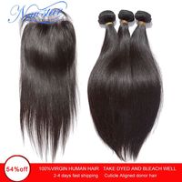 Brazilian Virgin Straight Hair 3 Bundles Human Hair Weaving With Closure 10A New Star Cuticle Aligned Raw Hair Weave And Closure