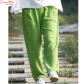 women soft pleated texture lady long pants simple modern lady brand linen straight capris