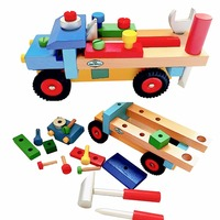 Brand Wooden Blocks Build N Play Truck For Toddlers Fun Kids Assemble Development Toy With Color