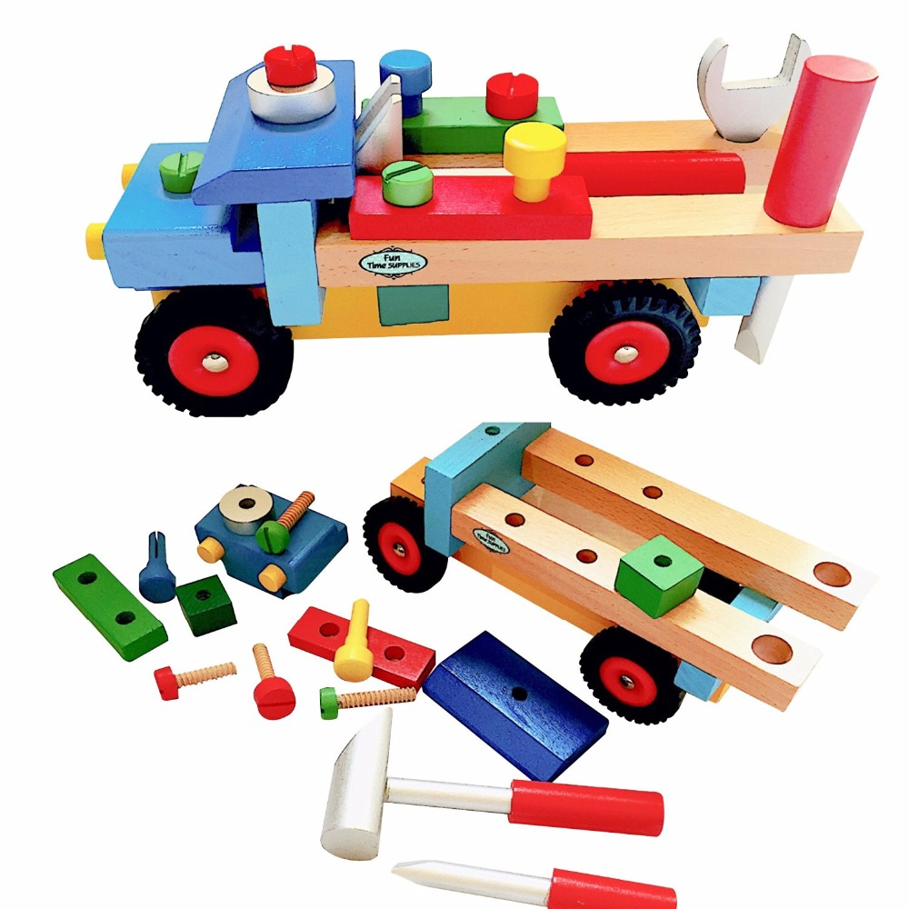 Brand Wooden Blocks Build N Play Truck for Toddlers Fun Kids Assemble Development Toy with color box cooking well healthy kids easy meals for happy toddlers