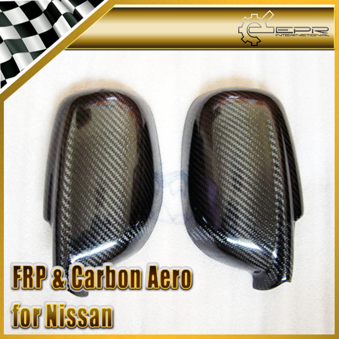 EPR Car Styling For Nissan Skyline R34 Carbon Fiber Mirror Cover Glossy Fibre Finish Exterior Door Accessories Racing Trim