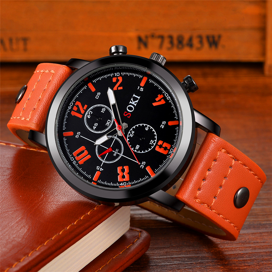 SOKI Men Watches 2018 Luxury Brand Leather Quartz Watch Fashion Sport Men's Wristwatch Reloj Hombre Clock Male Relogio Masculino