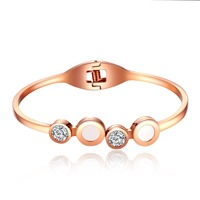 Fate Love Beauty Round Rose Gold Color Stainless Steel Bracelets & Bangles Woman Jewelry With Cubic Zirconia Stone Inlay FL825