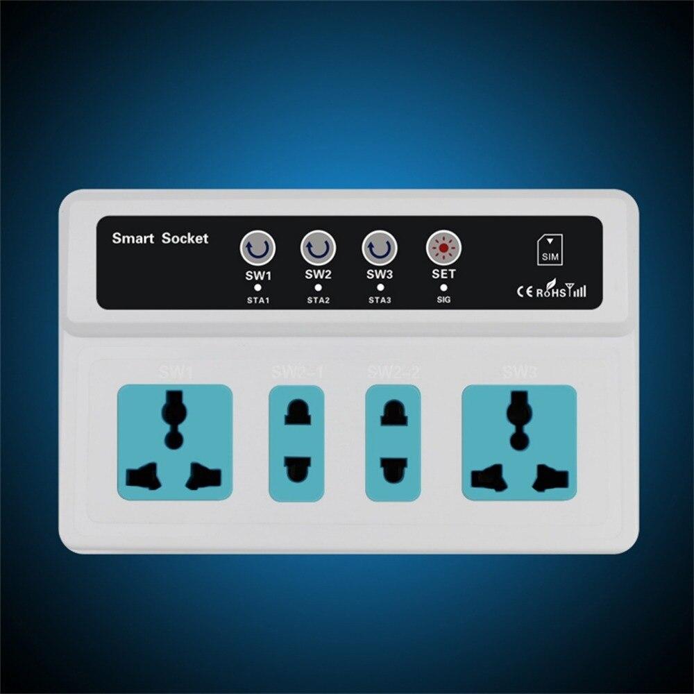 imágenes para Interruptor de 3 Tomas de Control Remoto Inalámbrico GSM SIM Del Teléfono Móvil Inteligente Toma de Interruptor