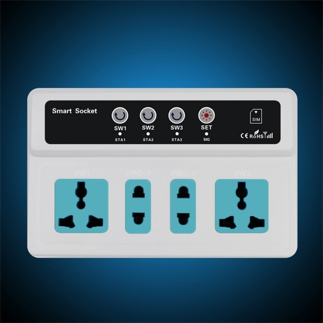 Switch 3 Sockets Remote Control Wireless Mobile Phone GSM SIM Smart Socket Switch