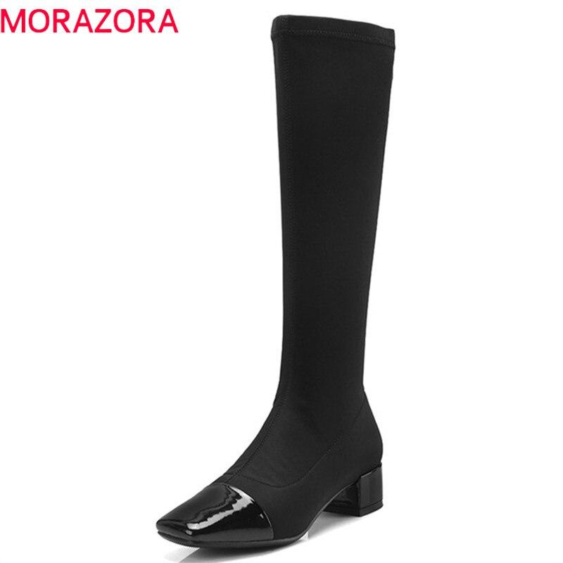 Negro Zapatos Mujeres Cuero 2019 Elástica Pie Del Morazora De azul Otoño Ternero Calcetines Venta Mediados Caliente Dedo Cuadrados Botas Cuadrado Tacones Mujer Rq6B4Yq
