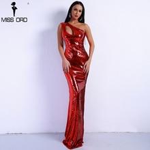 Missord 2018 Summer Women Sexy Off Shoulder Elegant Sequin Dresses Irregular Hollow Out Nightclub Maxi Dress Vestdios FT9081