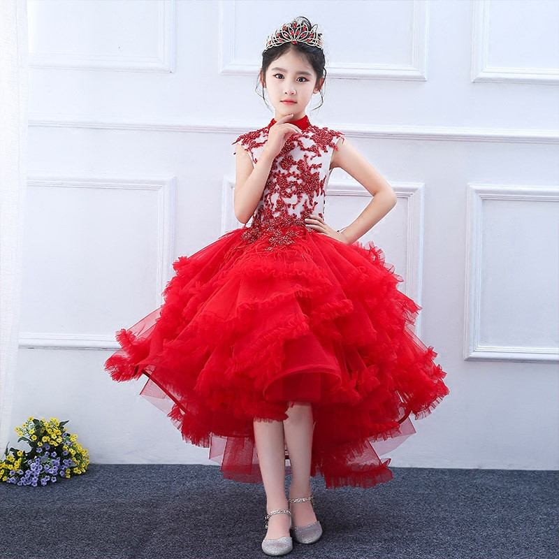 2019 Children Lace Flower Princess Dress Kids Girl Wedding Birthday Party Trailing Dress Baby Girl Elegant Pageant Prom Gown Q25