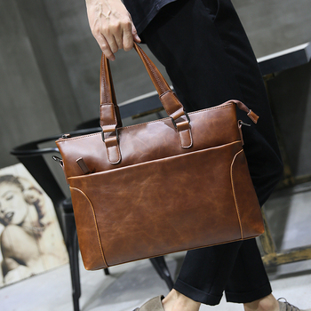 Laptop brown handbag, suitable for 13-inch laptop, stylish and easy to carry,Men preferred computer bag,